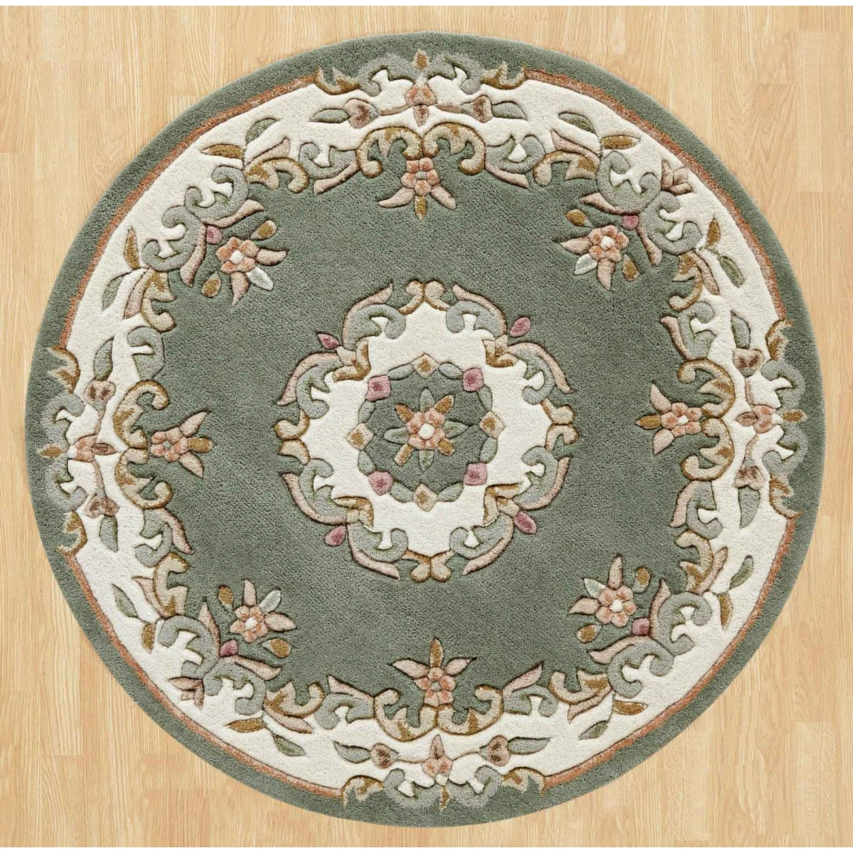 Round Rugs Circular Rugs Online For Sale Therugshopuk Throughout Circular Green Rugs (Image 12 of 15)