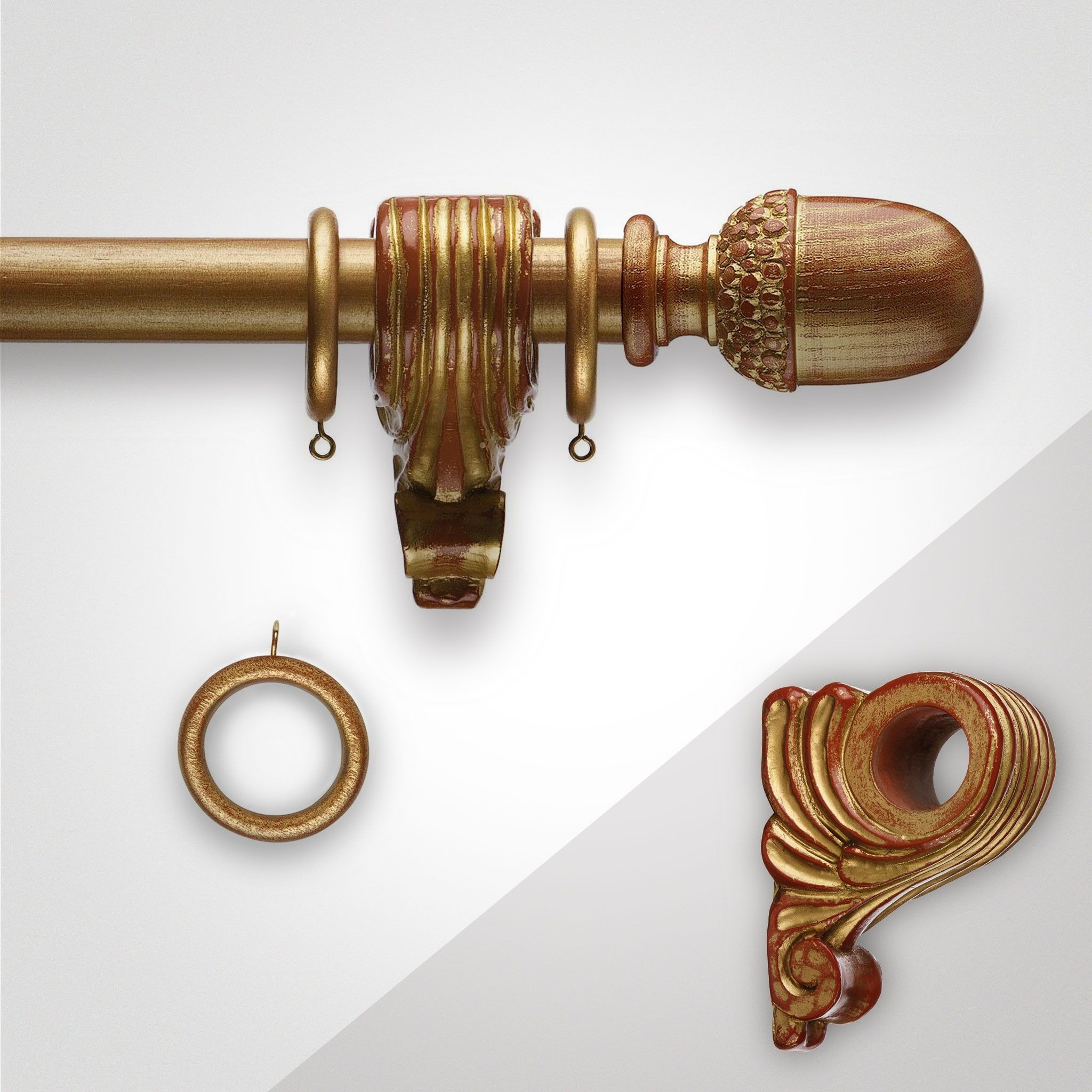 Royal Ambassador Wooden Church Gold Acorn Resin Curtain Pole Inside Wooden Curtain Poles (View 14 of 25)