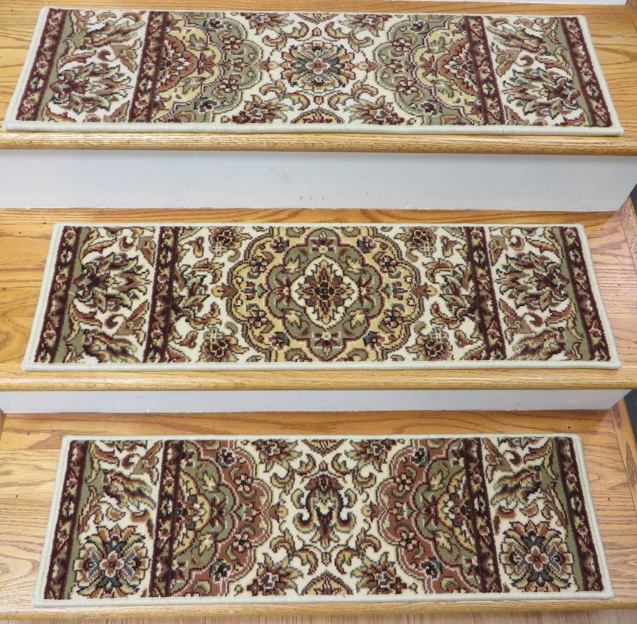 Rugs Carpet Elegant Carpet Stair Treads With Classic Pattern Inside Indoor Stair Tread Mats (Image 12 of 15)