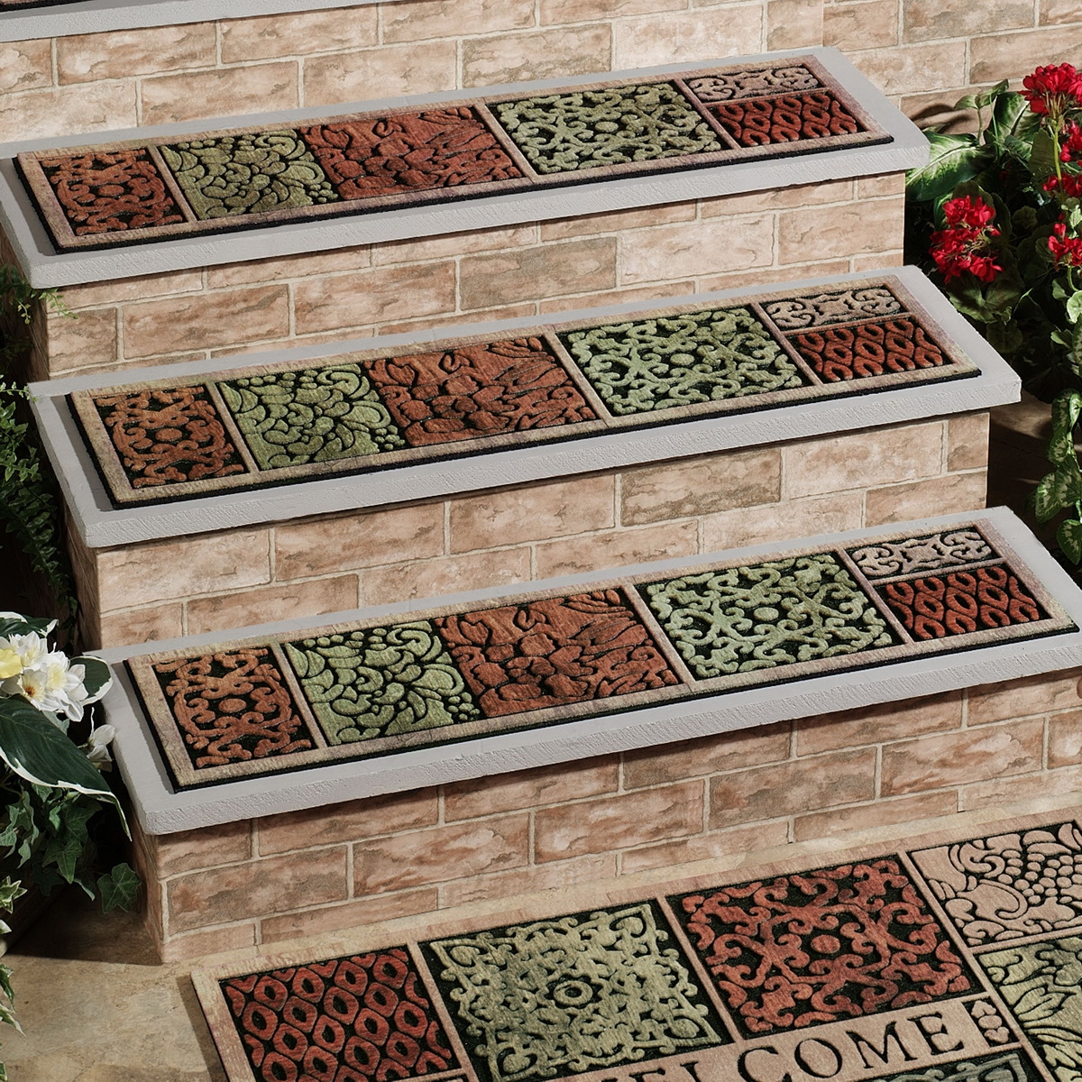 Rugs Carpet Elegant Carpet Stair Treads With Classic Pattern Pertaining To Stair Tread Carpet Pads (Image 12 of 15)