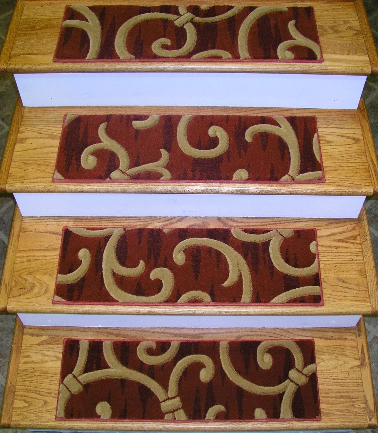 Rugs Carpet Elegant Carpet Stair Treads With Classic Pattern Within Stairway Carpet Treads (Image 11 of 15)
