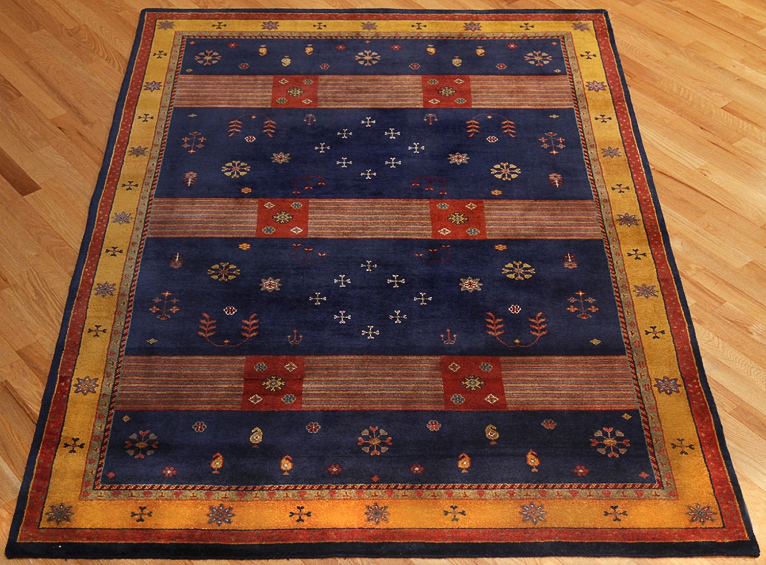 Rugsville Gabbeh Tribal Navy Blue Gold Wool Rug 13230 Rugsville With Gabbeh Rugs (Image 9 of 15)