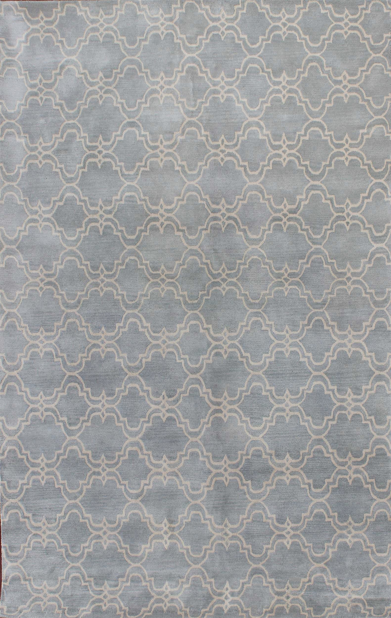 Rugsville Trellis Wool 12161 Rug Light Blue Ivory Rugsville Within Wool Blue Rugs (Image 13 of 15)