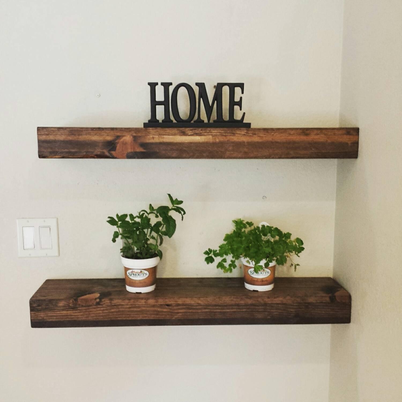 Rustic Reclaimed Wood Dark Walnut Floating Shelf Wall Shelf For Floating Shelves (Image 14 of 15)