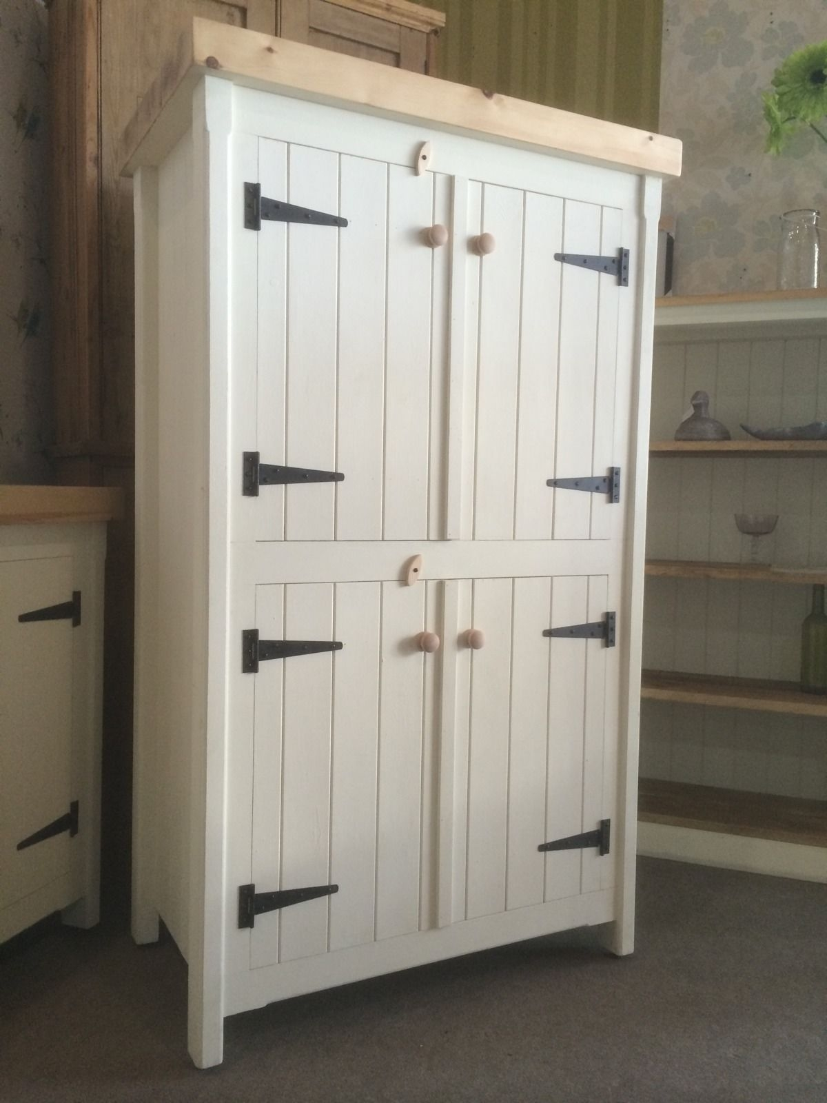 Rustic Wooden Pine Freestanding Kitchen Handmade Cupboard Unit Within Handmade Cupboards (Image 15 of 15)