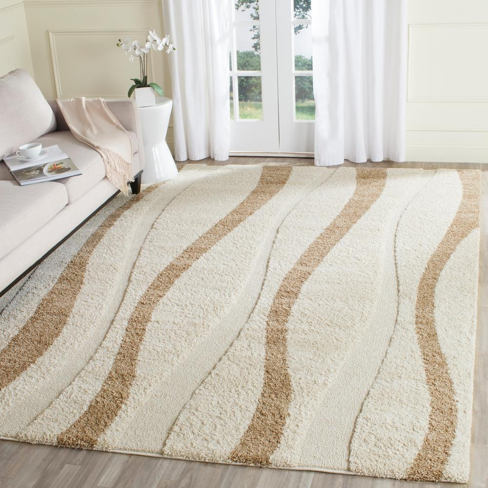 Safavieh Florida Shag Creamdark Brown 8 Ft X 10 Ft Area Rug With Regard To Cream Rugs (Image 15 of 15)