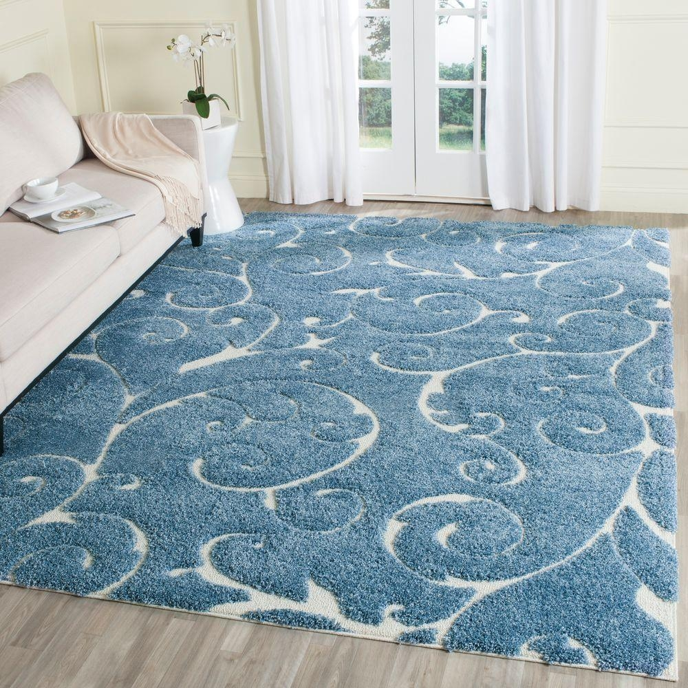 Safavieh Florida Shag Light Bluecream 8 Ft 6 In X 12 Ft Area With Regard To Light Blue And Cream Rugs (Image 12 of 15)