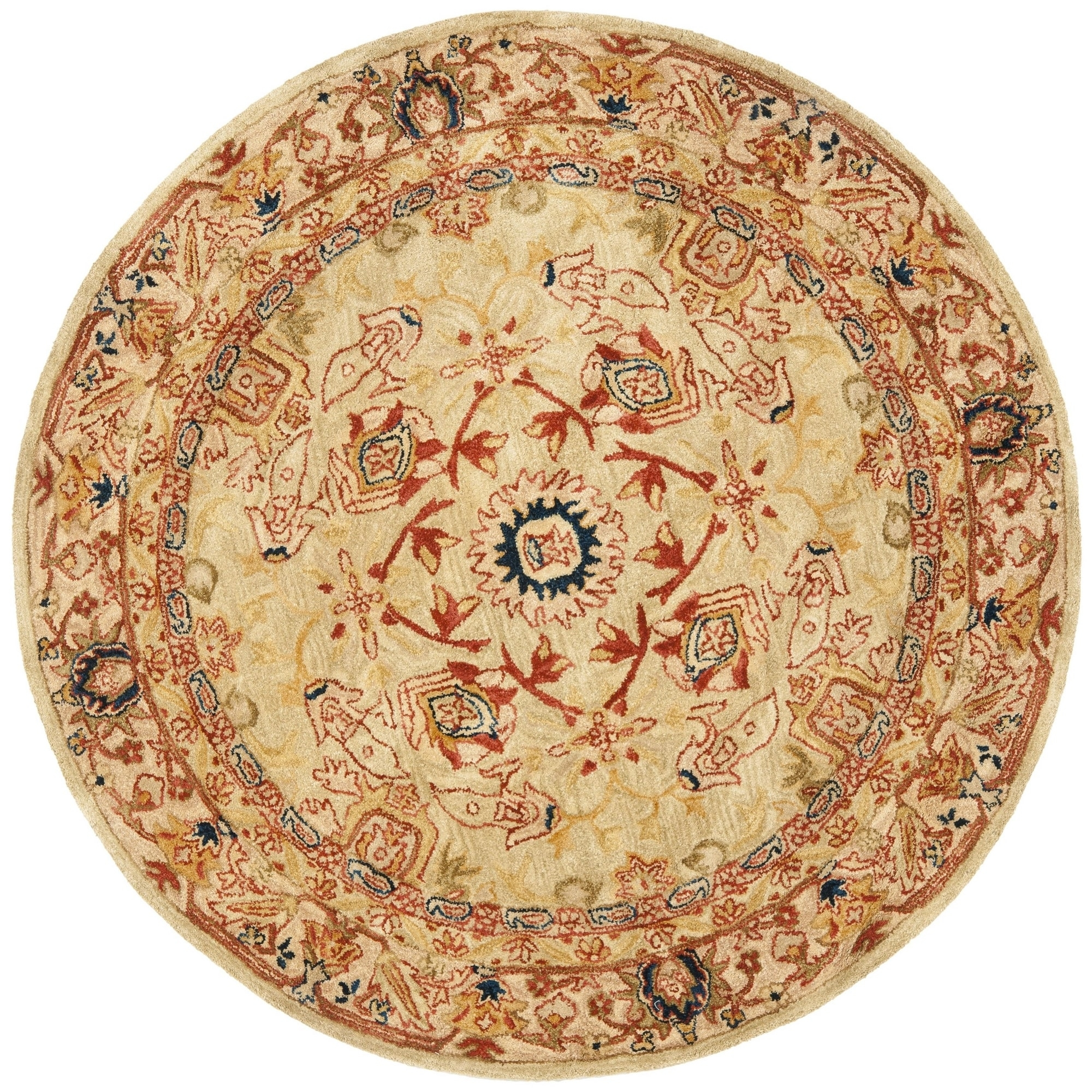 Safavieh Handmade Anatolia Oriental Ivory Hand Spun Wool Rug 4 Intended For Round Wool Rugs (Image 15 of 15)