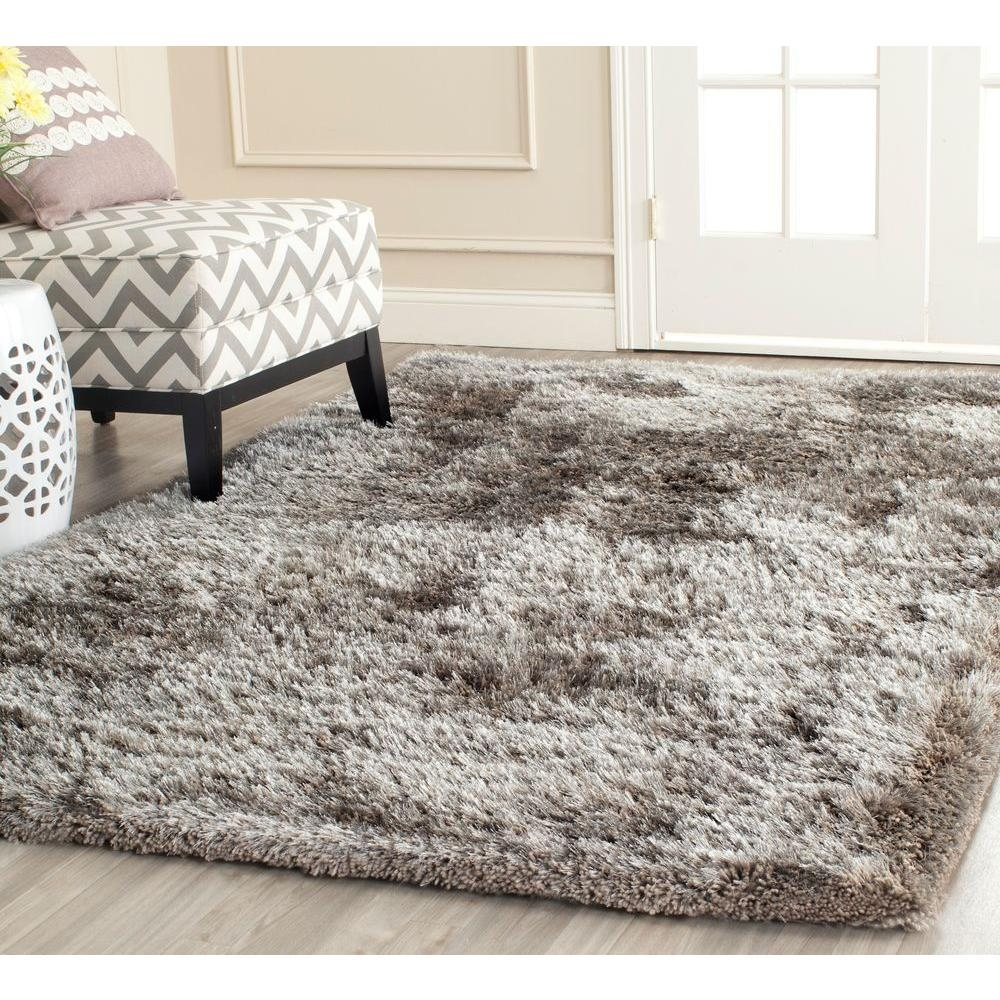 Safavieh South Beach Shag Silver 4 Ft X 6 Ft Area Rug Sbs562b 4 Intended For Silver Rugs (View 12 of 15)