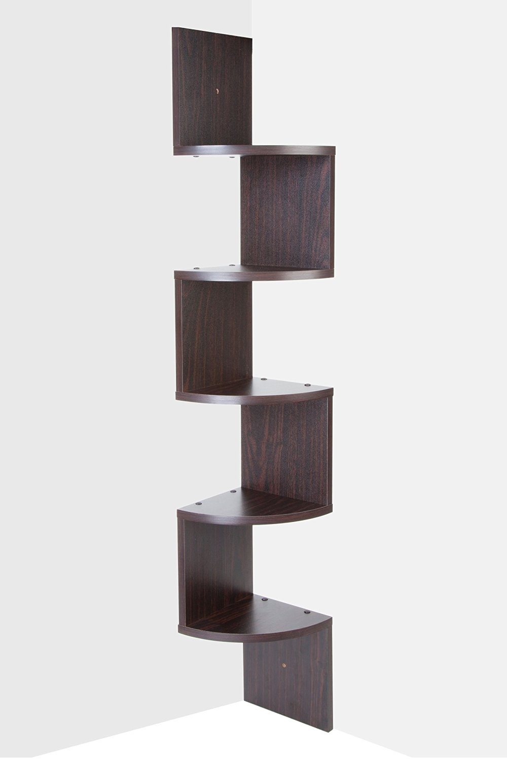 Saganizer Corner Shelf Brown Corner Shelf Unit 5 Tier Corner Regarding Corner Shelf (Image 14 of 15)