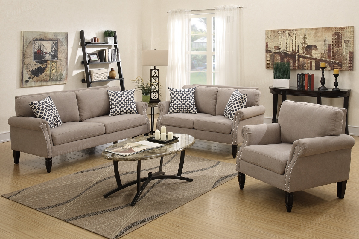 Sand Velveteen Fabric 3pc Sofa Loveseat Chair Set W Silver With Sofa Loveseat And Chair Set (Image 11 of 15)