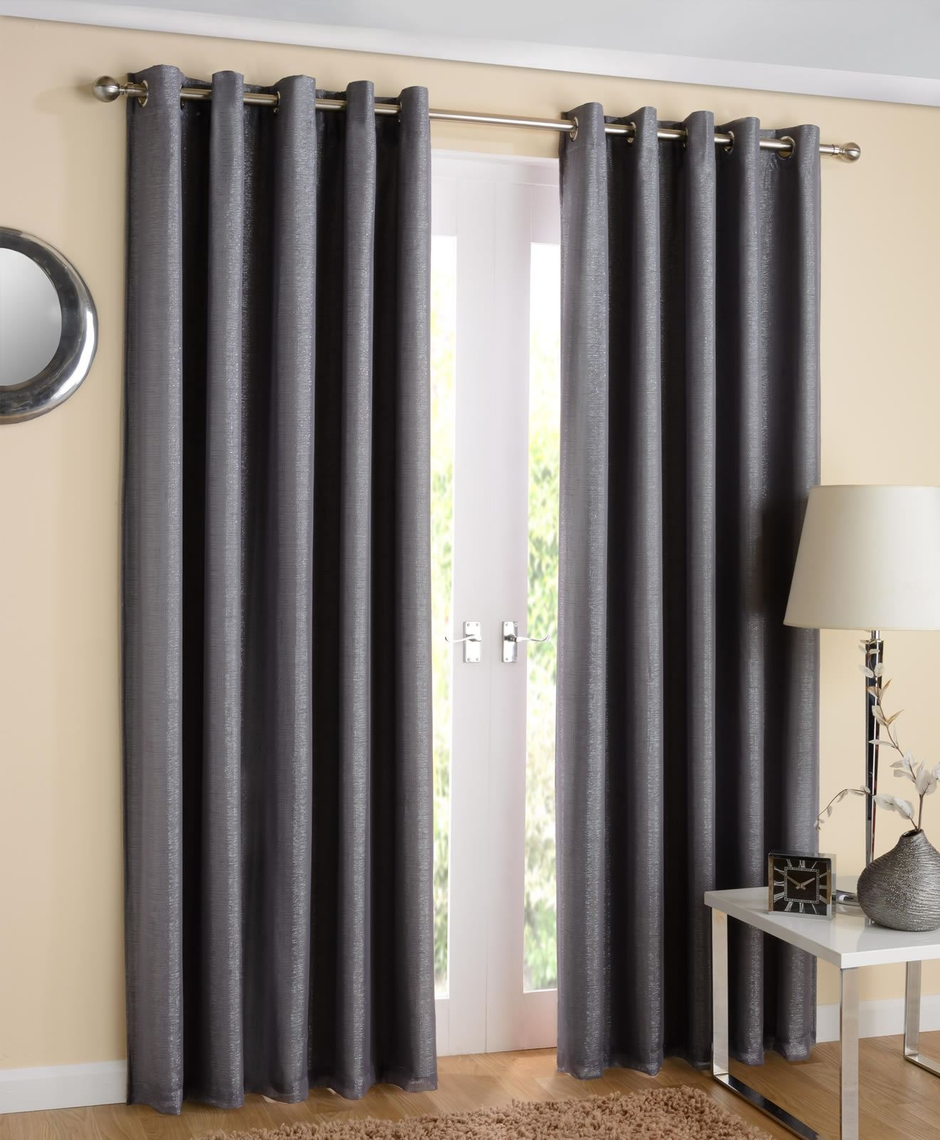 Santiago Eyelet Curtains Sparkle Lined Voiles Ready Made Pairs Inside Grey Eyelet Curtains (Image 19 of 25)