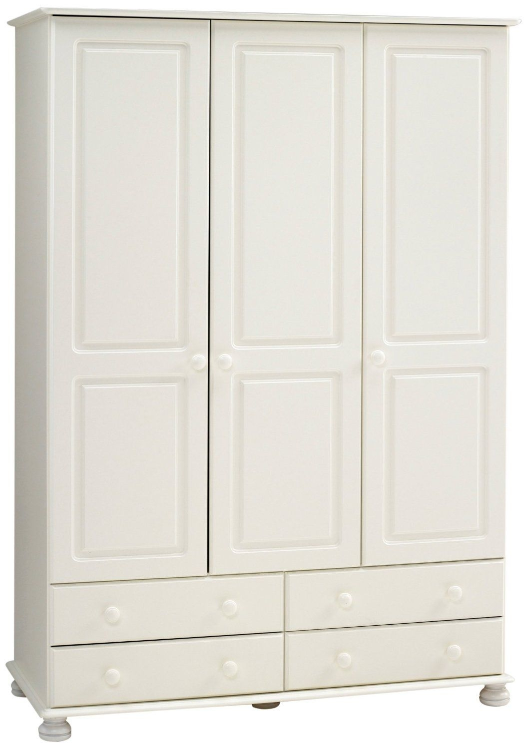 Scandinavian 3 Door 4 Drawer Wardrobe Available In Cream Pine Or With Regard To 3 Door White Wardrobes (Image 19 of 25)