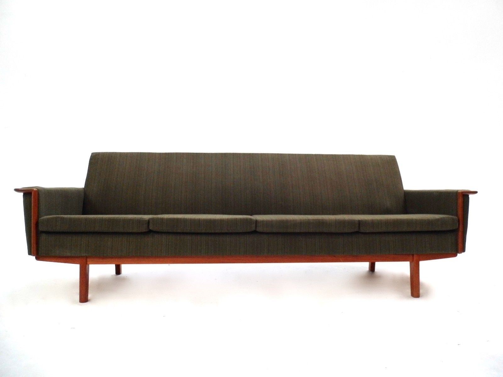 Scandinavian Green Wool Teak Four Seater Sofa 1960s For Sale At Pertaining To Four Seater Sofas (Image 13 of 15)