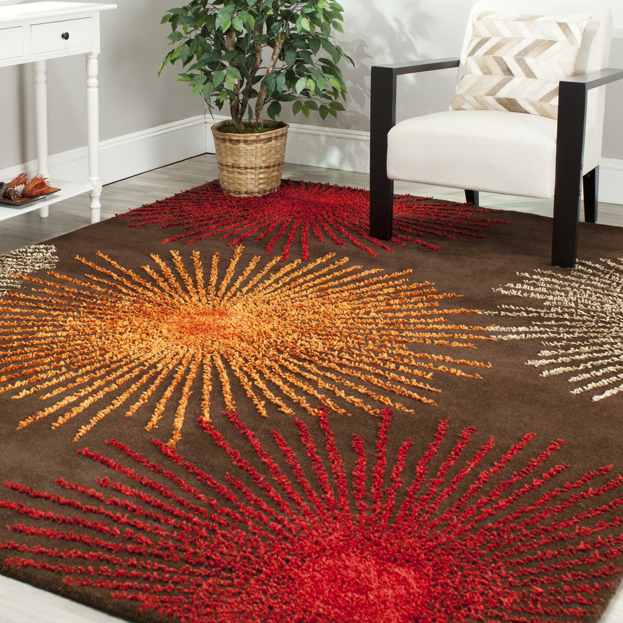 Schaub Brown Handmade Area Rug Reviews Allmodern With Brown Orange Rugs (Image 15 of 15)