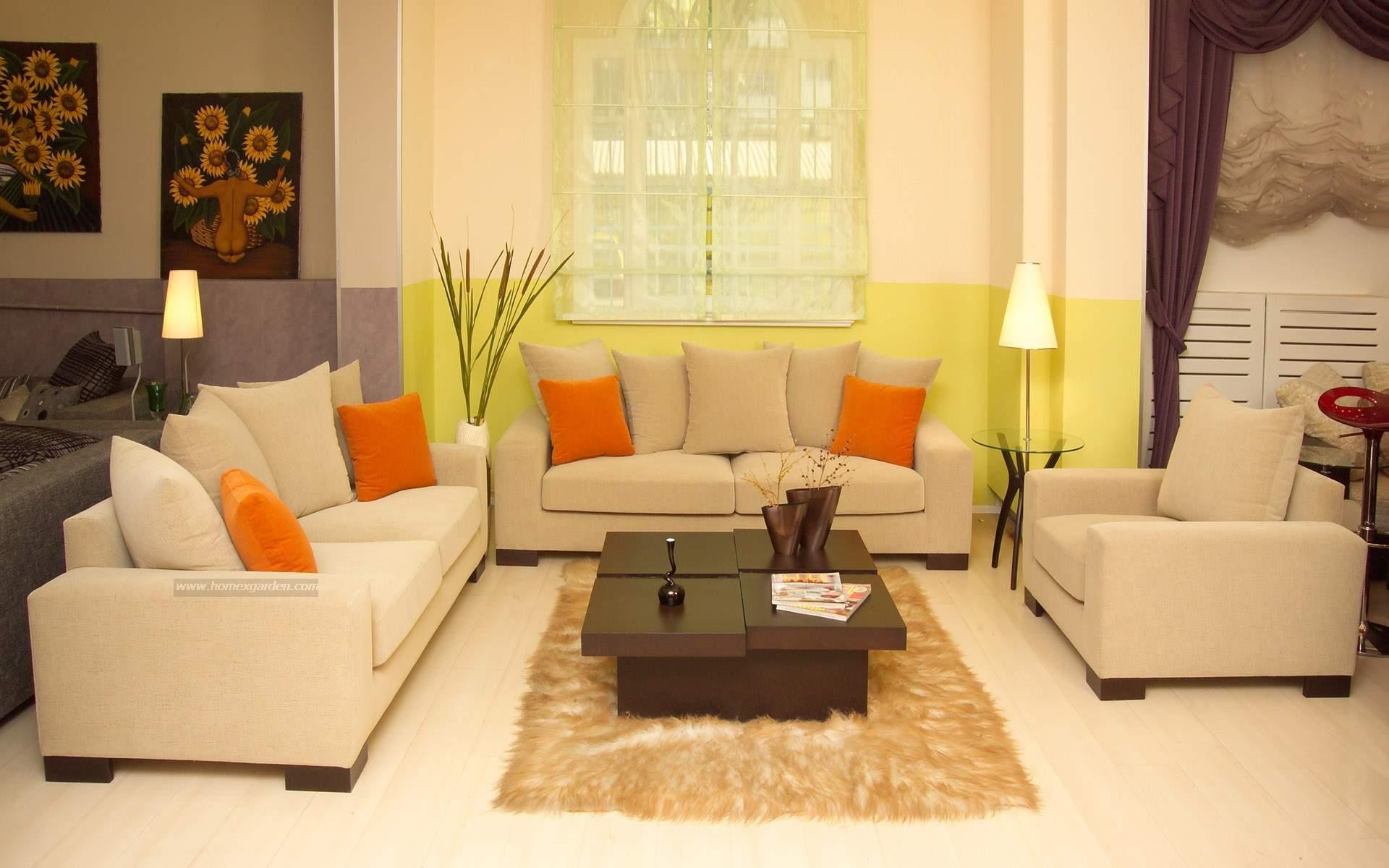 Serene Living Room Decorated With Cream Wall Paint Color And In Living Room Sofa Chairs (Image 14 of 15)
