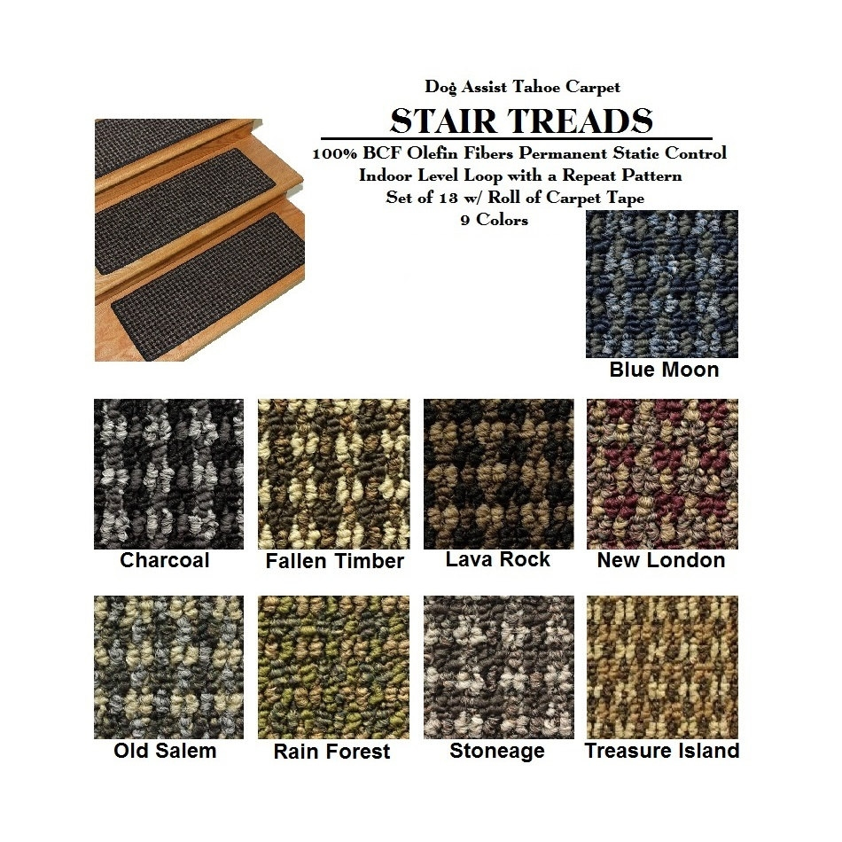Set Of 13 8×24 Dog Assist Stair Treads Tahoe Throughout Carpet Stair Treads For Dogs (Image 14 of 15)