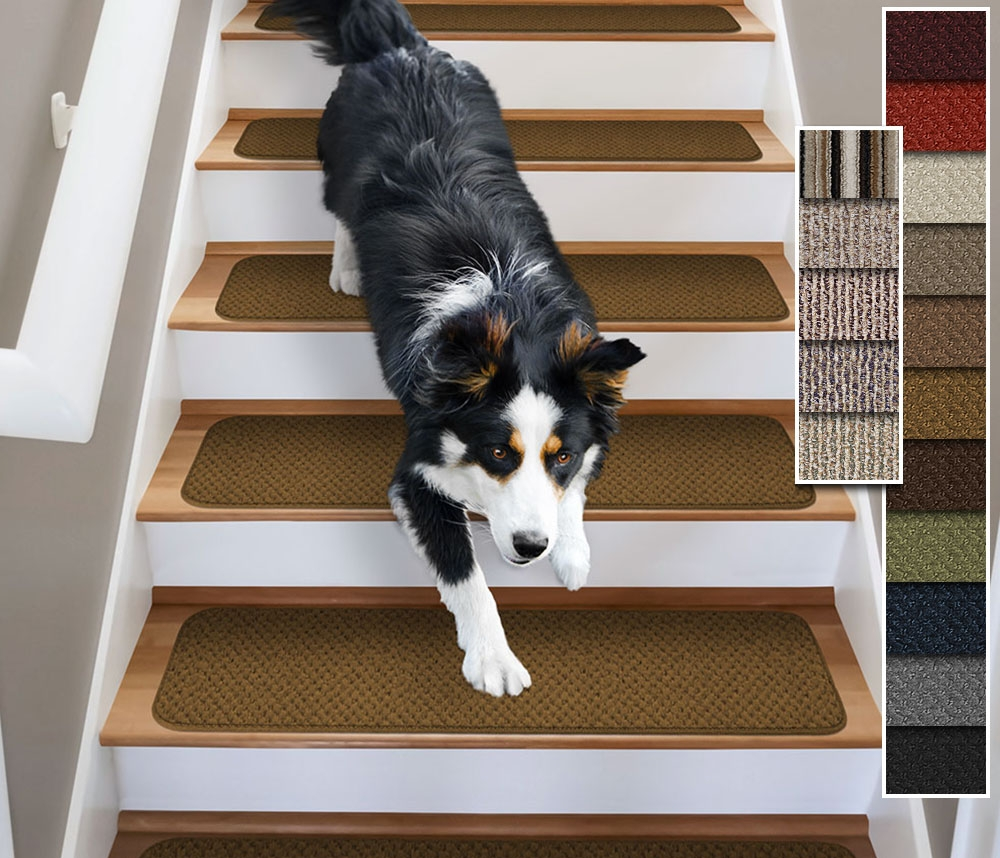 Set Of 15 Attachable Carpet Stair Treads 4 Sizes16 Colors Rug Regarding Carpet Stair Treads Set Of  (Image 11 of 15)