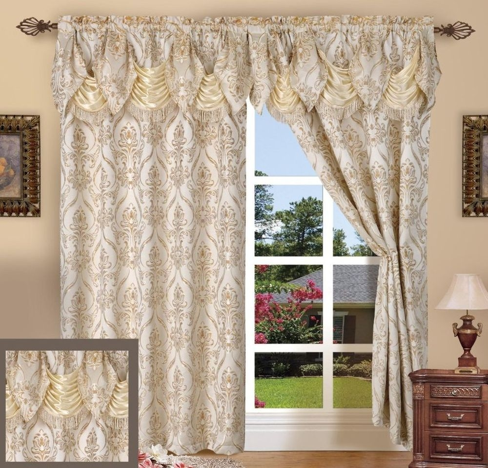 Set Of 2 Penelopie Curtain Panels With Attached Austrian Valance With Regard To Pattern Curtain Panels (Image 19 of 25)