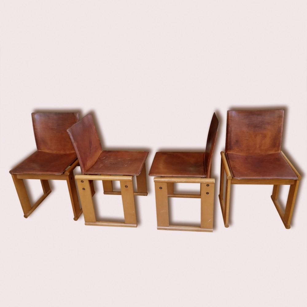 Set Of 4 Monk Lounge Chairs Afra Scarpa Tobia Scarpa For Regarding Monk Chairs (Image 13 of 15)