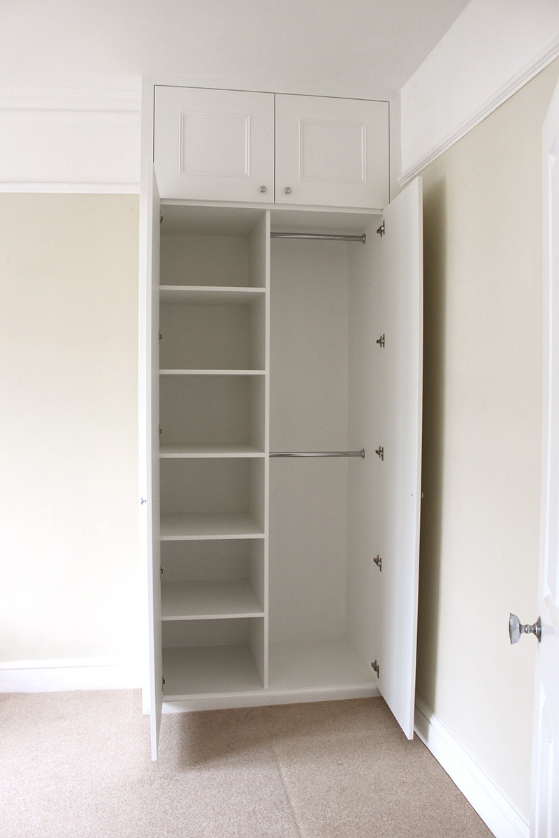 Shaker With Molding Alcove Wardrobe Nice Combo Of Shelves And Inside Hanging Wardrobe Shelves (Image 18 of 25)