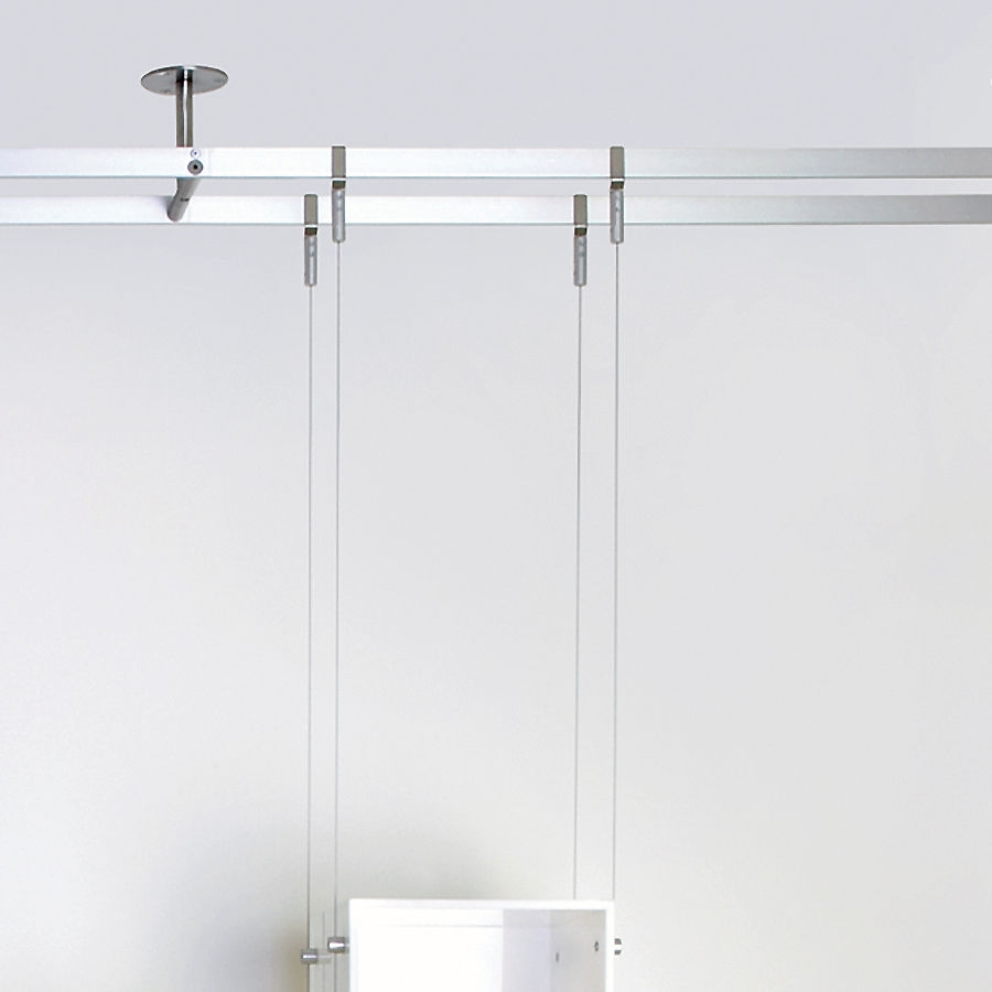 Shelving System Hanging Contemporary Glass For Shops Regarding Glass Shelf Cable Suspension System (Image 7 of 15)