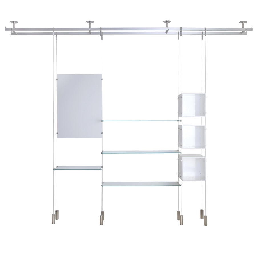 Shelving System Hanging Contemporary Glass For Shops Regarding Glass Shelf Cable Suspension System (Image 8 of 15)
