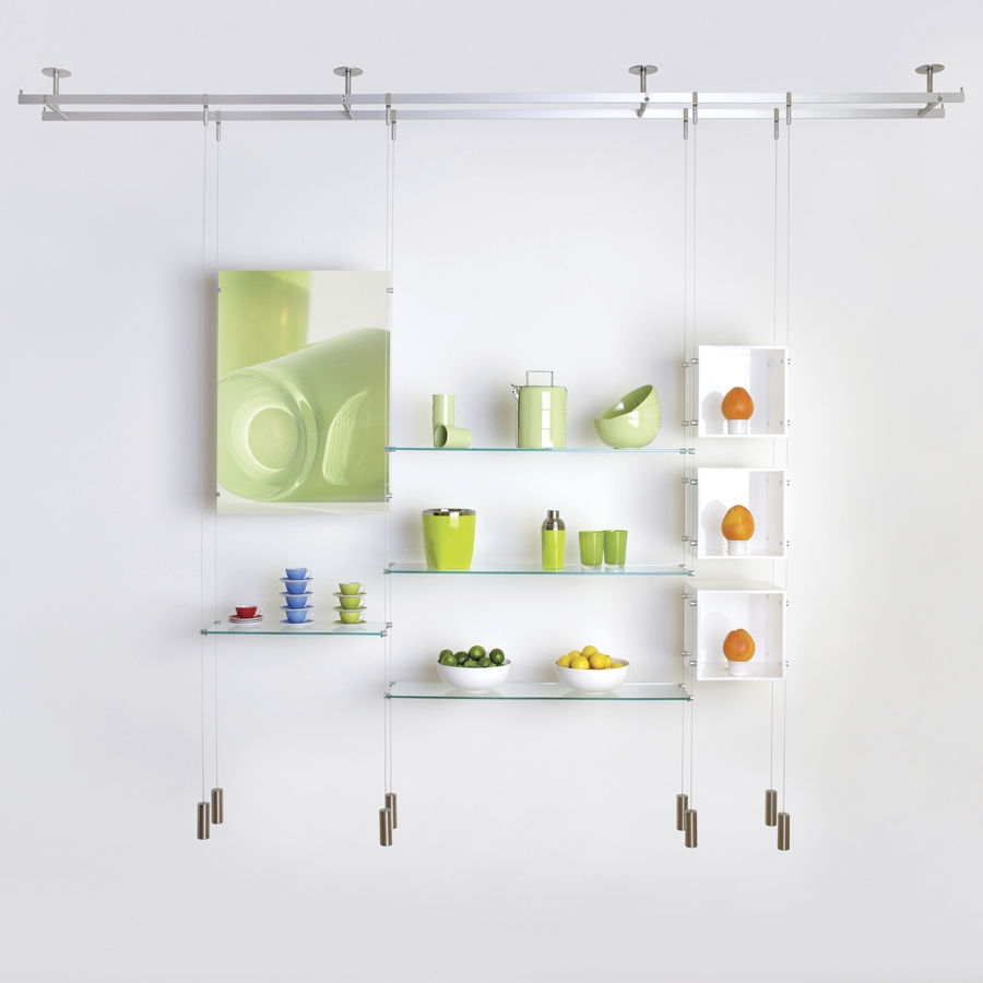 Shelving System Hanging Contemporary Glass For Shops Regarding Glass Shelf Cable Suspension System (Image 6 of 15)