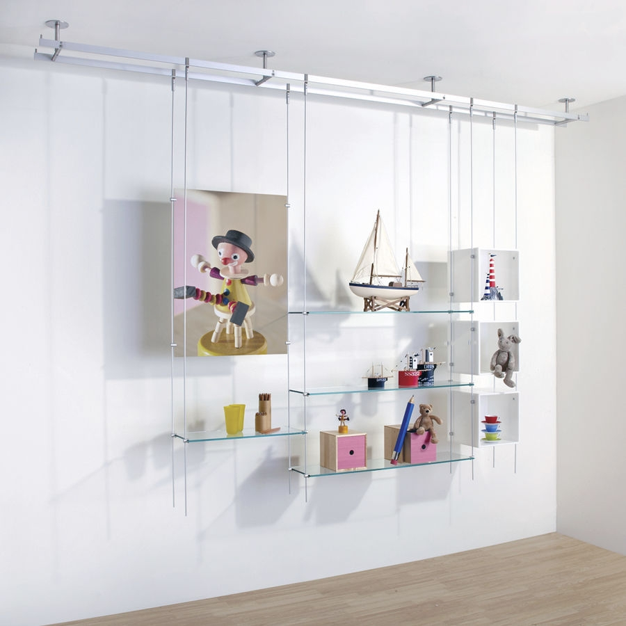Shelving System Hanging Contemporary Glass For Shops Rod Intended For Cable Suspended Glass Shelves (Image 7 of 15)