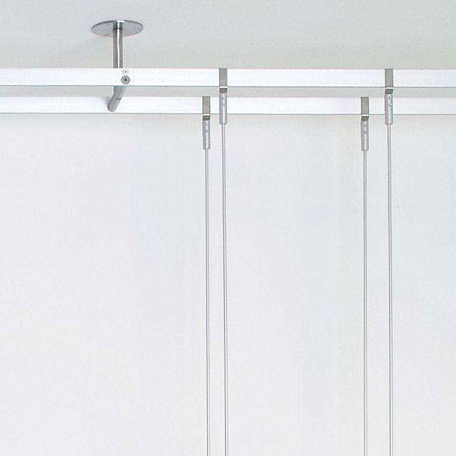 Shelving System Hanging Contemporary Glass For Shops Rod Intended For Glass Suspension Shelves (Image 9 of 15)