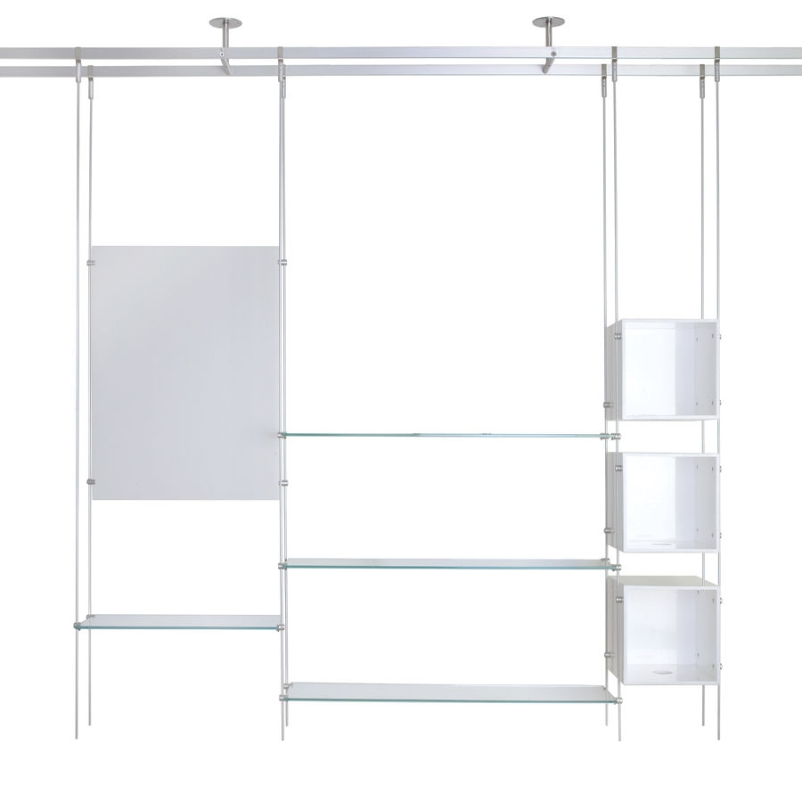 Shelving System Hanging Contemporary Glass For Shops Rod Regarding Glass Suspension Shelves (Image 10 of 15)