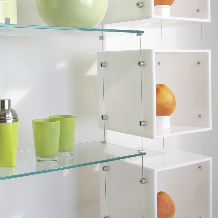 Shelving System Hanging Contemporary Glass For Shops Within Glass Shelf Cable Suspension System (Image 9 of 15)