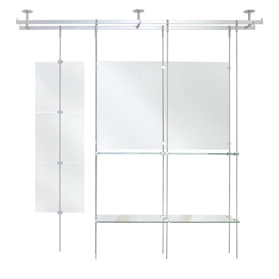 Shelving System Hanging Contemporary Glass For Shops Within Hanging Glass Shelves Systems (Image 13 of 15)