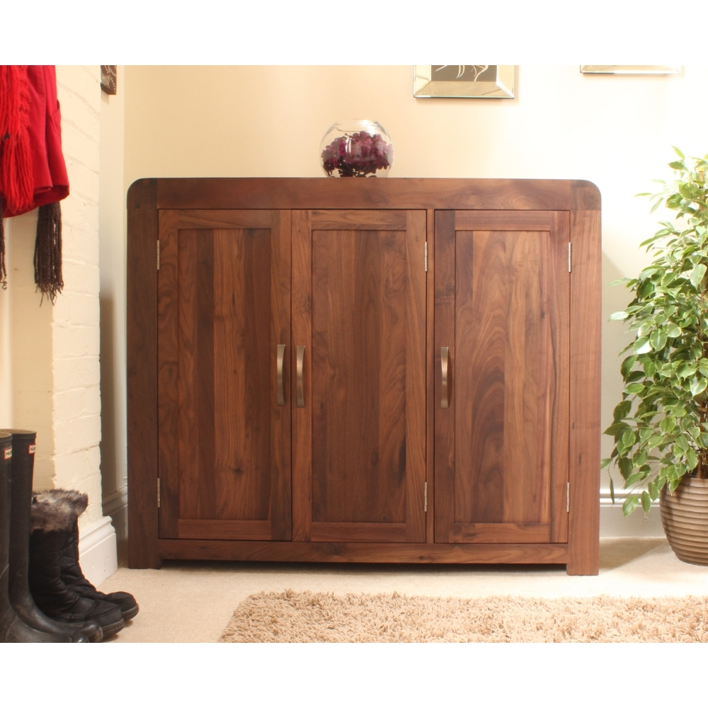 Shiro Shoe Storage Cabinet Cupboard Rack Large Solid Walnut Dark Inside Solid Dark Wood Wardrobes (Image 10 of 15)