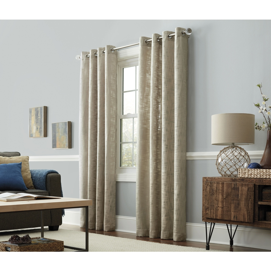 Shop Allen Roth Amesmore 84 In Linen Polyester Grommet Light Intended For Linen Grommet Curtains (Image 20 of 25)