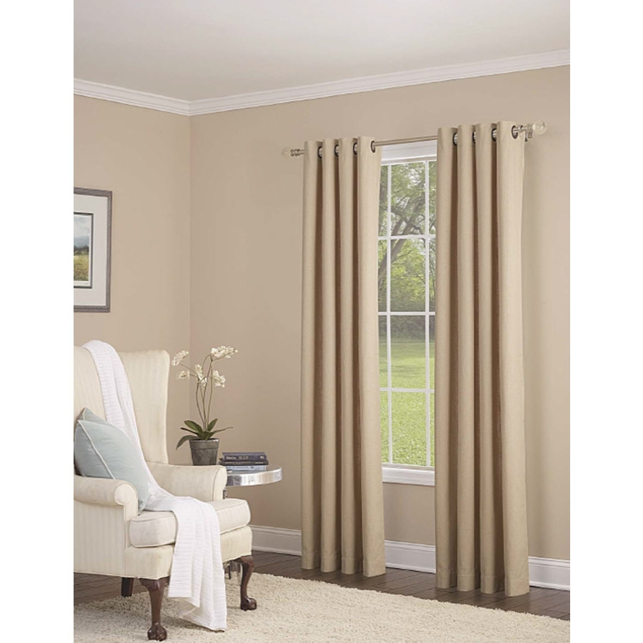 Shop Allen Roth Whinfell 84 In Sand Faux Linen Grommet Light Regarding Linen Grommet Curtains (Image 21 of 25)