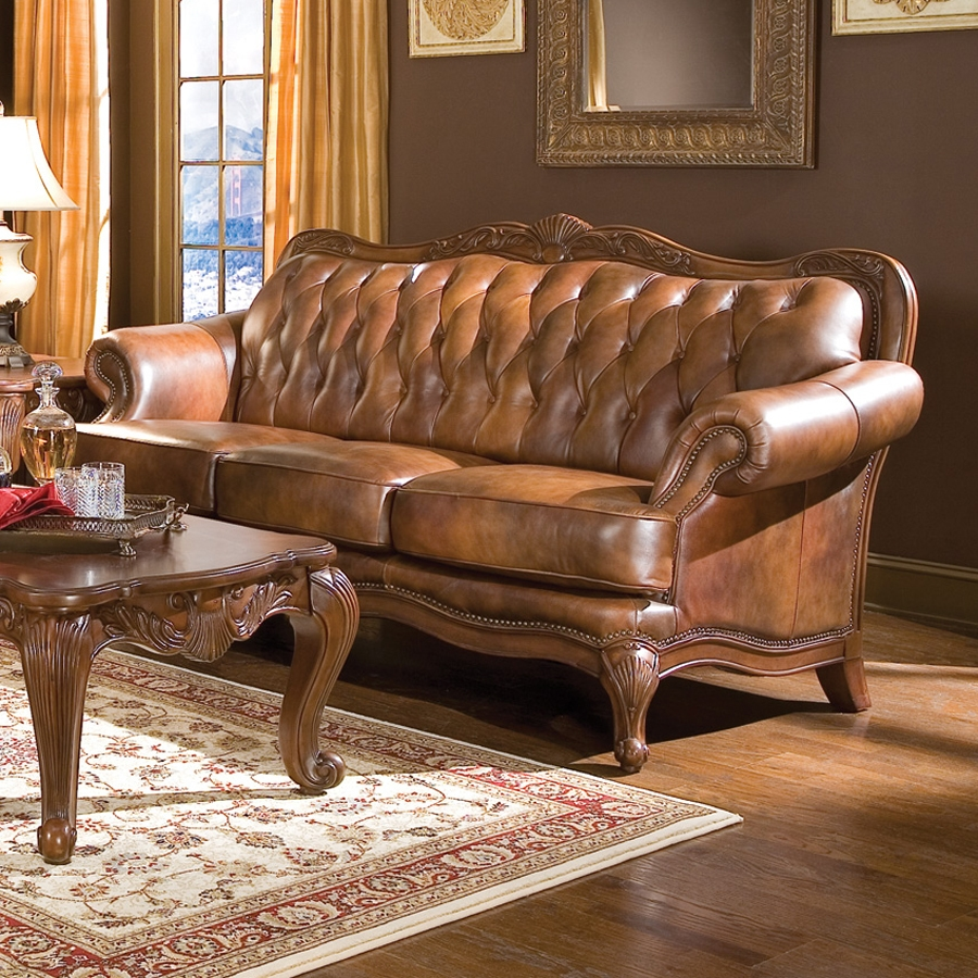 Shop Coaster Fine Furniture Victoria Brown Leather Sofa At Lowes Pertaining To Victorian Leather Sofas (Image 6 of 15)