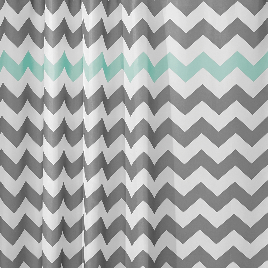 Shop Interdesign Chevron Polyester Gray Aruba Chevron Patterned For Gray Chevron Shower Curtains (Image 21 of 25)