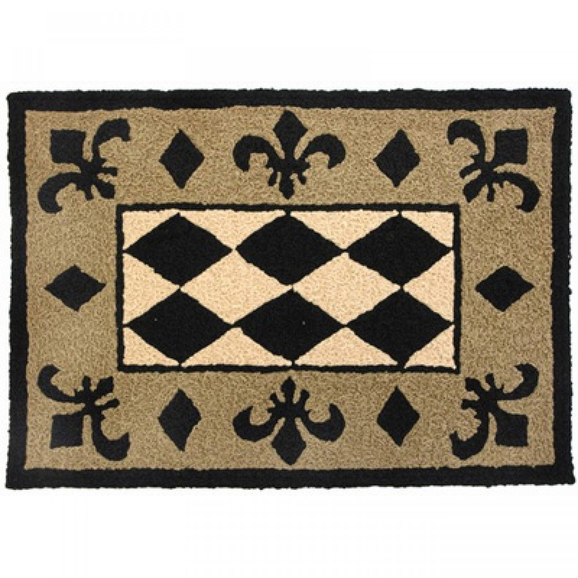 Shop Jellybean Harlequin Black Tan And Beige Outdoor Door Mat For Harlequin Rugs (Image 14 of 15)