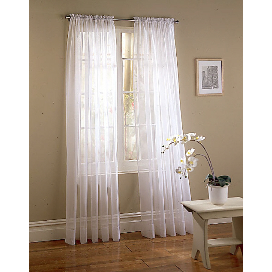 Shop Style Selections Voile 95 In White Polyester Rod Pocket Light With Regard To Sheer White Curtain Panels (Image 19 of 25)