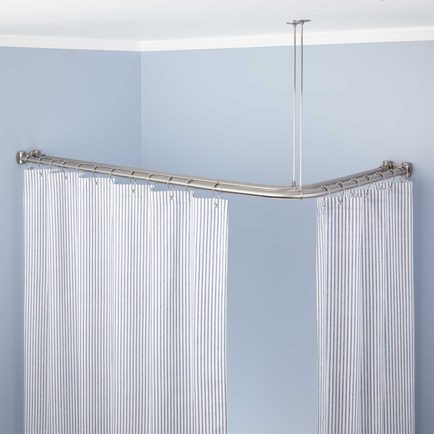 Shower Curtain Rods Signature Hardware Pertaining To Deep Curtain Rods (View 10 of 25)
