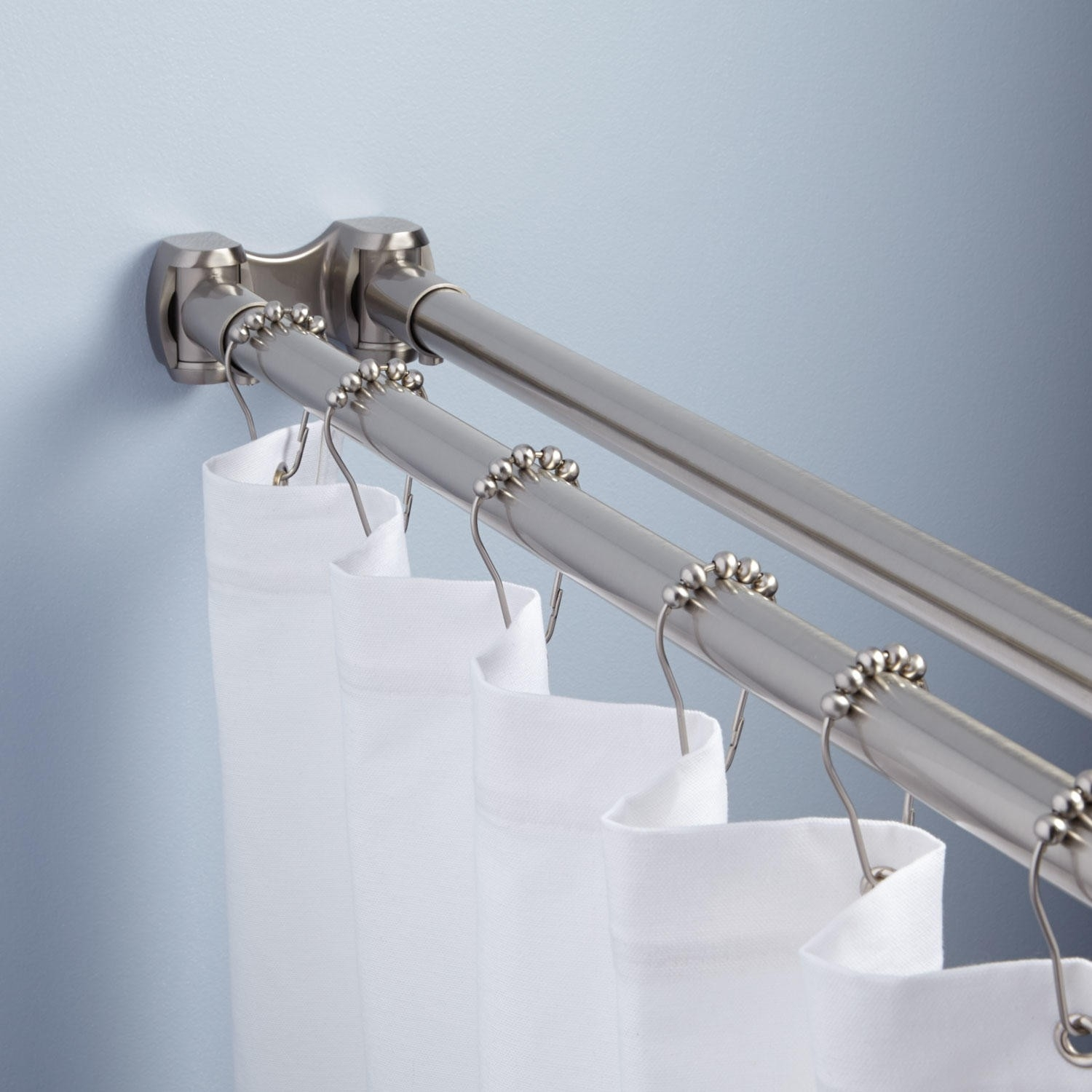 Shower Curtain Rods Signature Hardware With Shower Curtain Wall Mounts (Image 14 of 25)