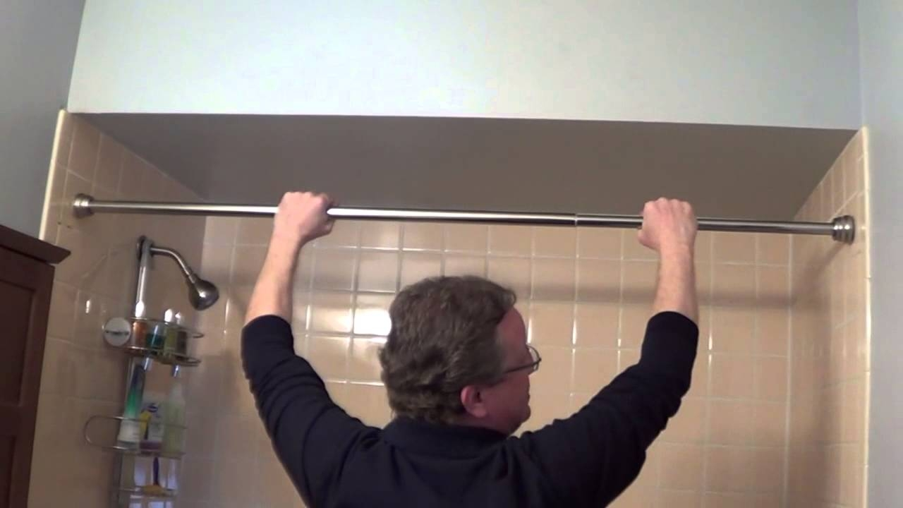 Shower Rod Installation Tension Shower Rods Youtube Regarding Spring Loaded Curtain Poles (View 14 of 25)