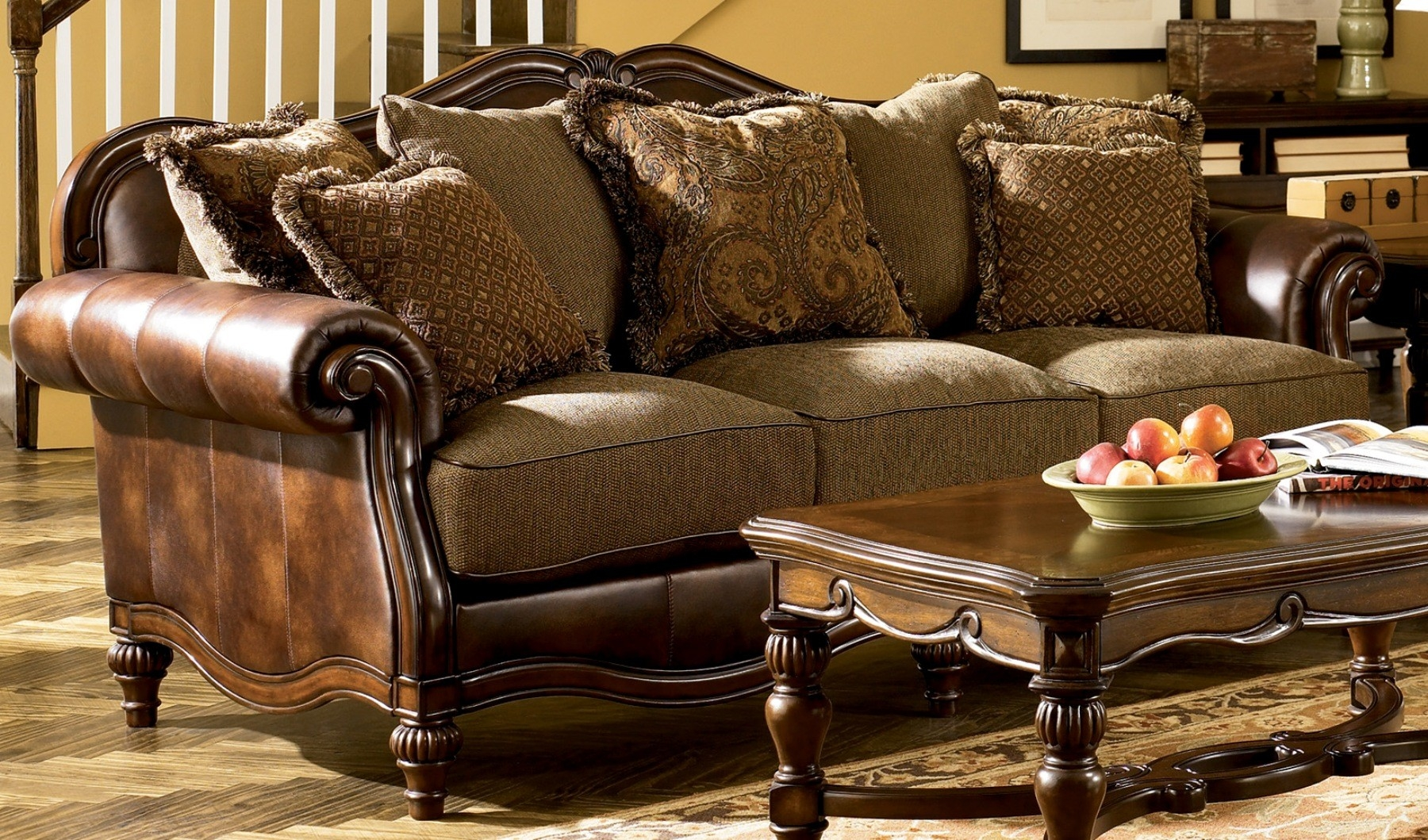 Signature Design Ashley Claremore Antique Sofa Fss Commerce Regarding Antique Sofa Chairs (Image 14 of 15)