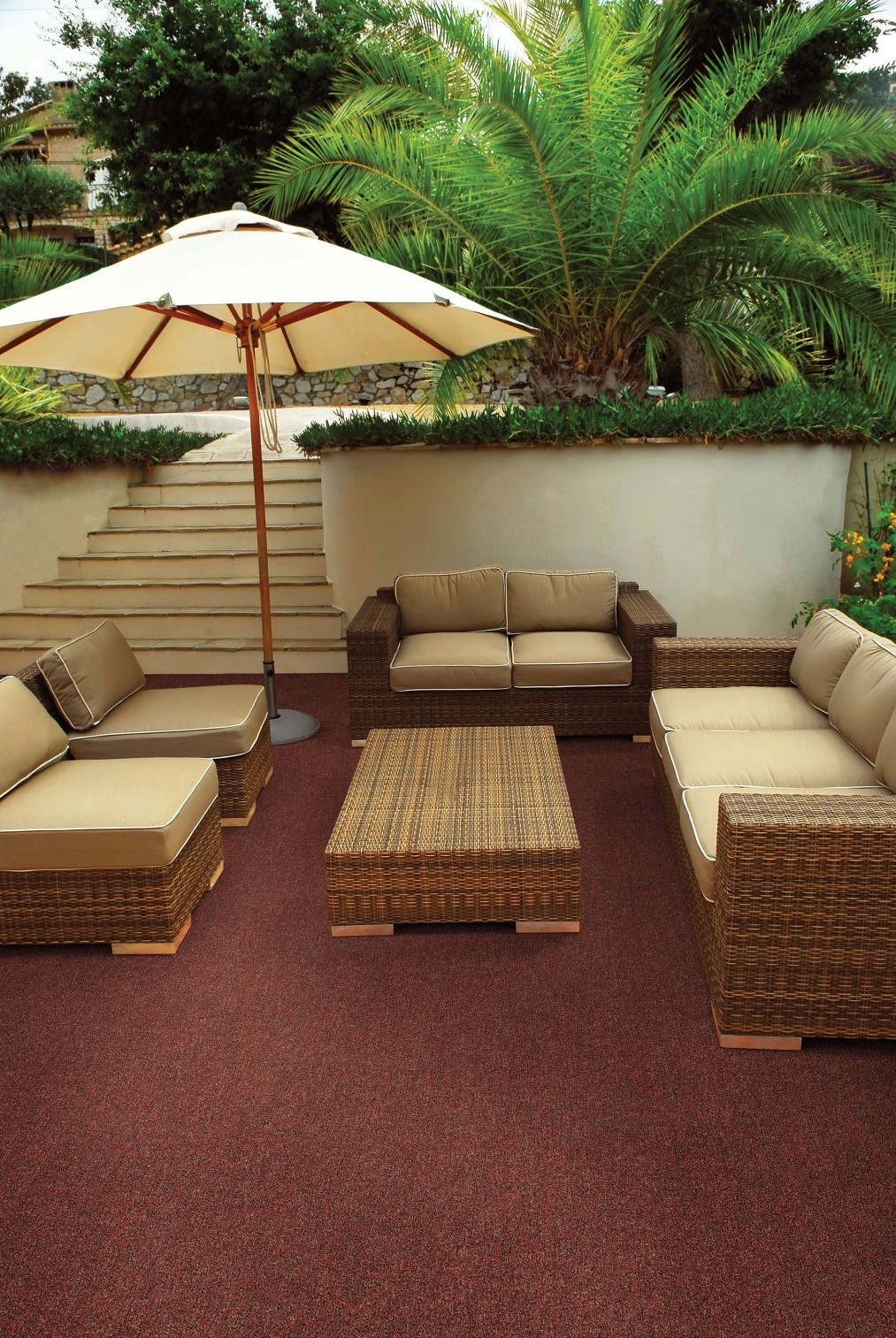 Simple Deck Patio Design With Maroon Color Outdoor Rugs And Regarding Outside Rugs For Decks (Image 13 of 15)