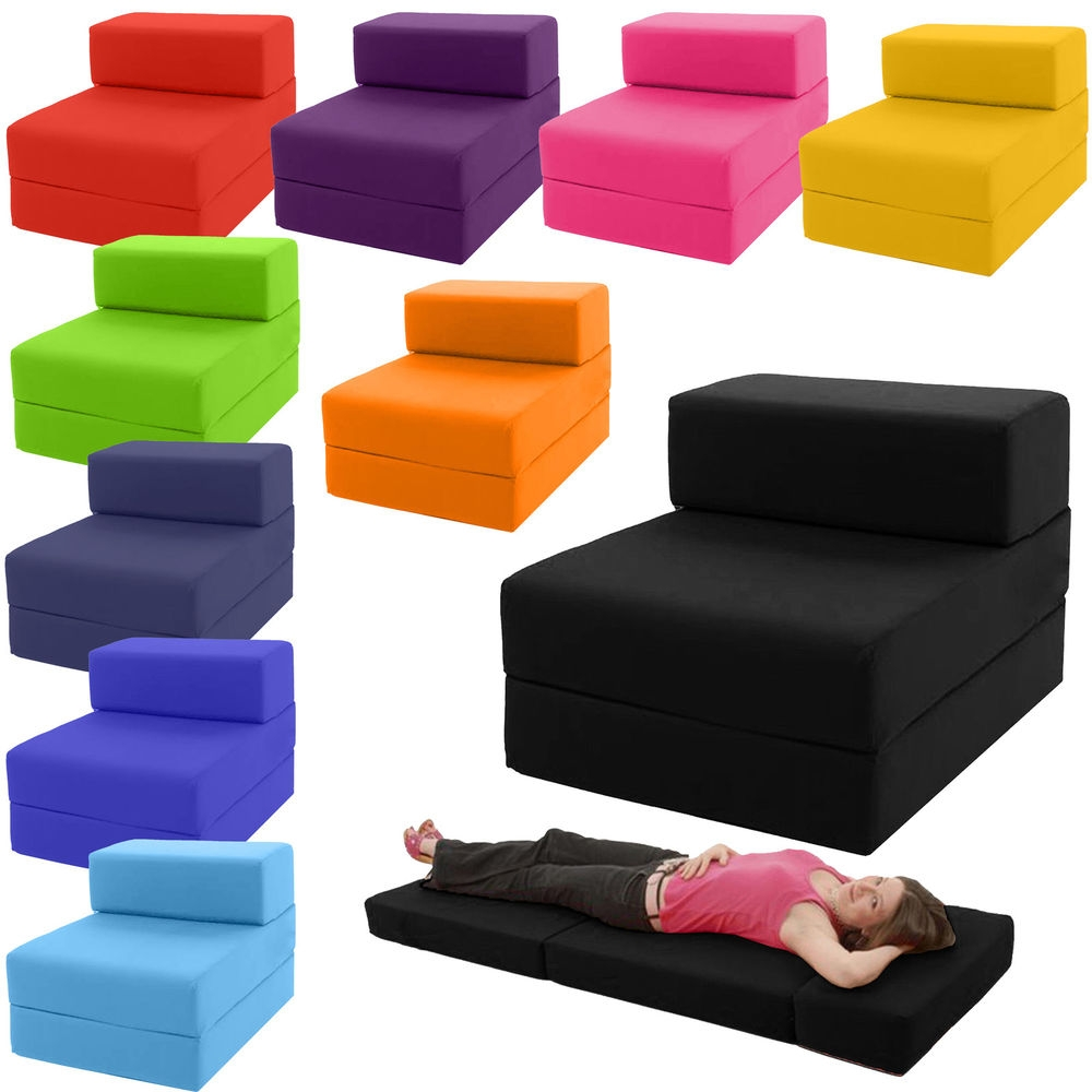 Single Chair Bed Z Guest Fold Out Futon Sofa Chairbed Lounger Inside Sofa Bed Chairs (Image 11 of 15)