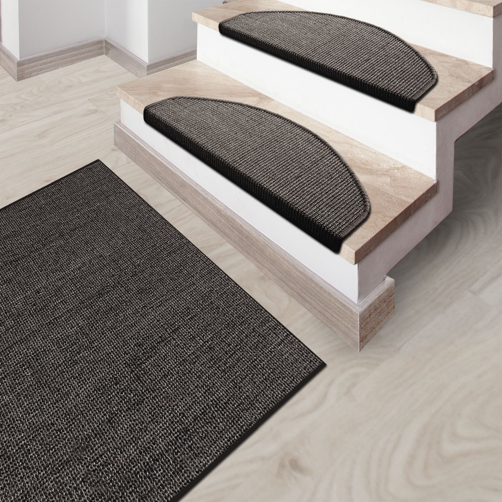 Sisal Rug Sylt Grey Stair Treads Also Available With Stair Treads And Matching Rugs (Image 13 of 15)