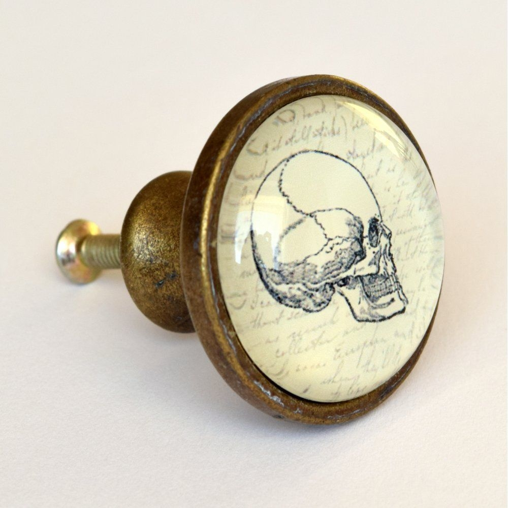 Skull Drawer Knob Quirky Vintage Style Brass Cupboard Door Knobs Pertaining To Vintage Cupboard Handles (View 6 of 25)