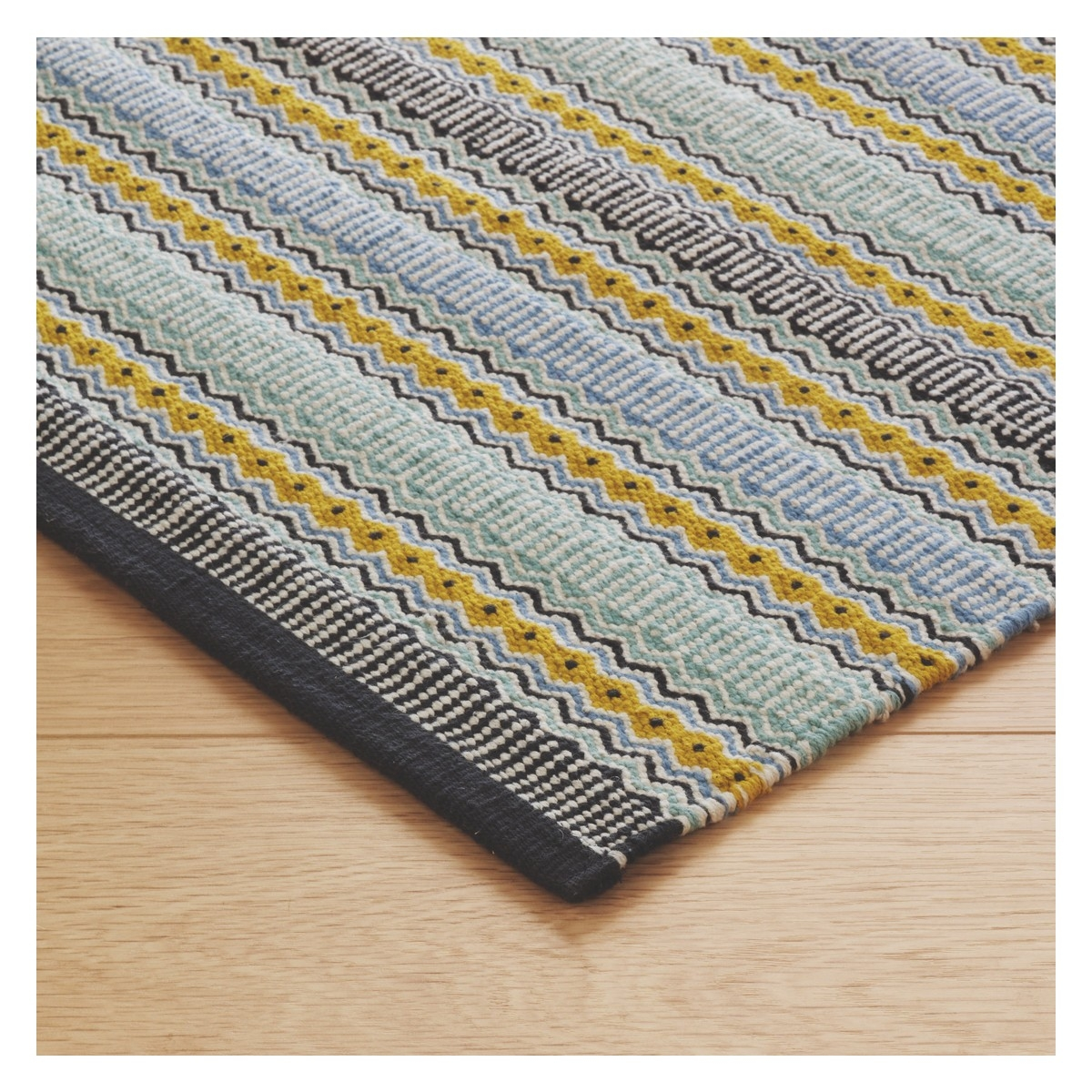 Small Blue Stripe Cotton Rug 120 X 180cm With Bobble Rugs (View 10 of 15)