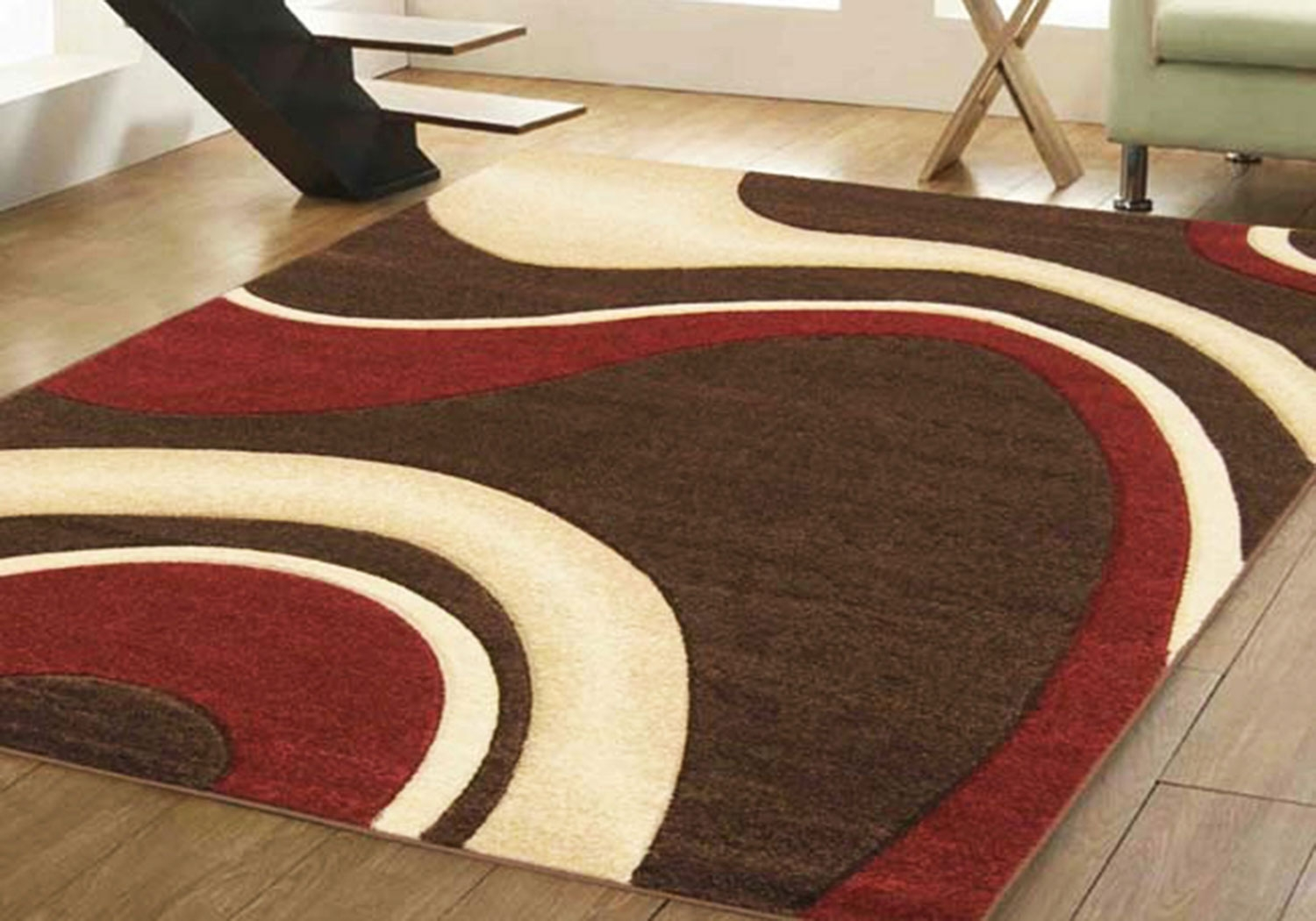Small Extra Large Modern Brown Blue Green Red Swirl Design Throughout Large Red Rugs (View 3 of 15)